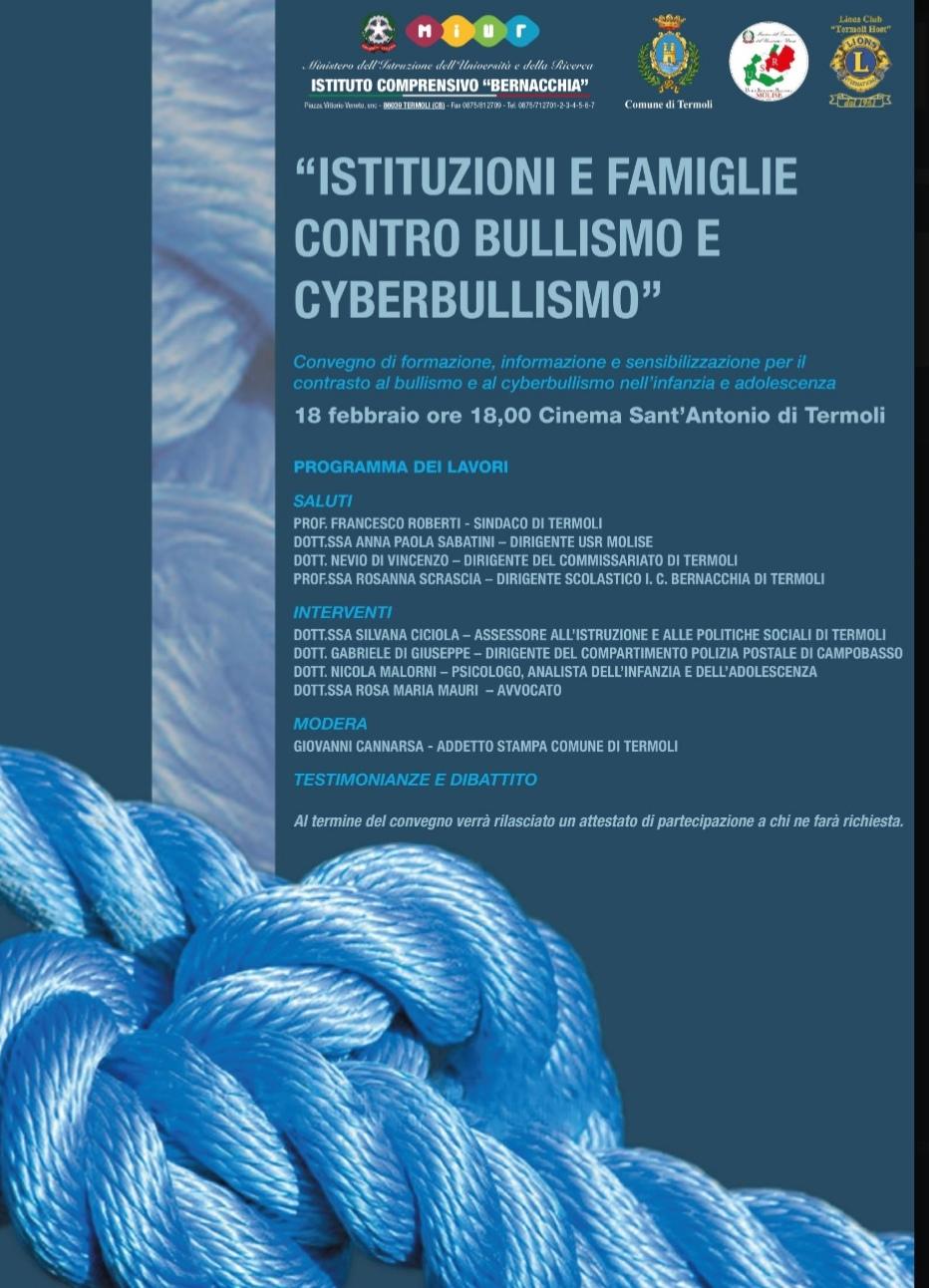 Convegno di formazione, informazione e sensibilizzazione per il contrasto al bullismo e cyberbullismo nell'infanzia e nell'adolescenza